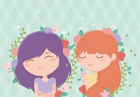 banner med unga kvinnor och blommor