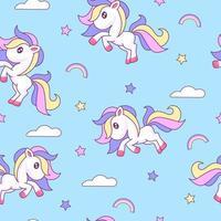 söta ponny sömlösa mönster vektor