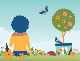Hallo Frühlingsfeier Banner mit Frau und Blumen vektor