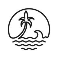 einfaches Strand- und Wellen-T-Shirt-Design