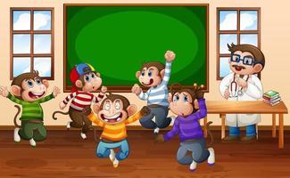fem små apor som hoppar i klassrummet