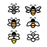 Bienenset, einfaches Strichgrafikdesign vektor