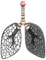 lungcancer-ikonen isolerad på vit bakgrund