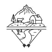 Bauernhof, Berg und Kuh, Strichzeichnungen vektor