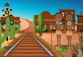 ethnische Leute von afrikanischen Stämmen im westlichen Hintergrund