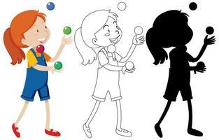 Mädchen spielt mit vielen Bällen gesetzt