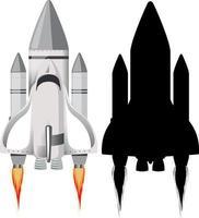 Rakete mit seiner Silhouette auf weißem Hintergrund