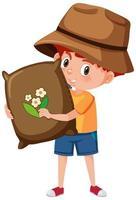 pojke håller påse med jord seriefigur vektor