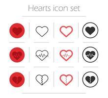 vektor hjärtan Ikonuppsättning