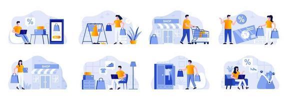 Einkaufsszenen bündeln sich mit Menschen vektor