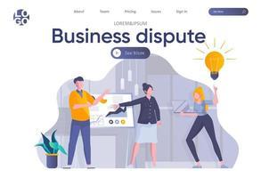 Zielseite für Geschäftsstreitigkeiten mit Kopfzeile vektor
