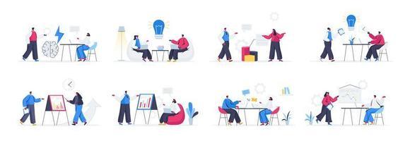 Bündel von Brainstorming-Teamszenen