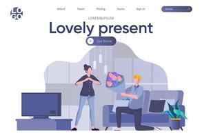 schöne Geschenk Landing Page mit Header vektor