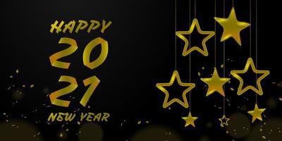 Happy New 2021 Golden Star und Text Design
