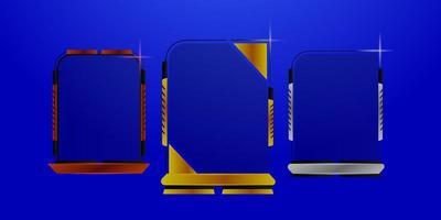 futuristisk ramuppsättning av brons, silver och guld vektor
