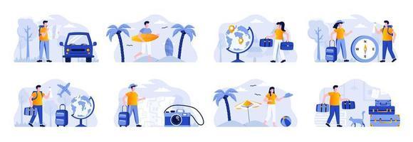 Reiseurlaubsszenen bündeln sich mit Menschen vektor