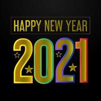 Frohes neues Jahr 2021 goldener Text und Sterne Design vektor
