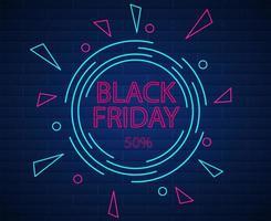 svart fredag geometriskt neonskylt på tegelstruktur