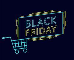 schwarzer Freitag Neonschildentwurf mit Einkaufswagen vektor