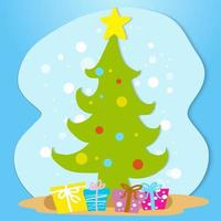 handritad stil julgran och gåvor