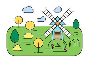 Linear Vector Landscape Illustration