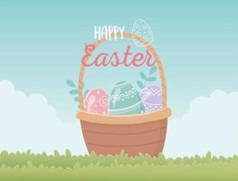glückliche Osterfeier mit Eierkorb im Freien