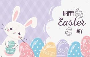 lycklig påskdag firande med kanin och ägg vektor