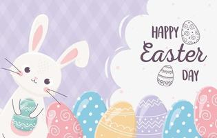 Fröhliche Ostertagsfeier mit Hase und Eiern vektor
