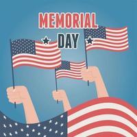 amerikanska flaggor för minnesdag firande banner vektor