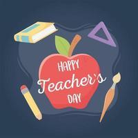skolmaterialkomposition för lärarens dag vektor