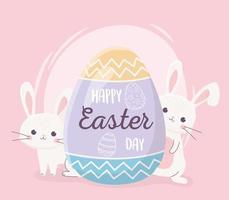 glad påsk banner firande med kaniner och ägg vektor