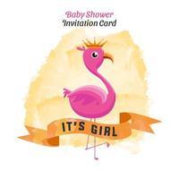 baby shower inbjudningskort akvarell flamingo design