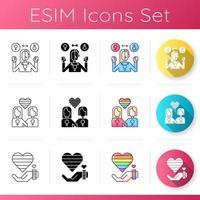 gay symboler ikoner set vektor