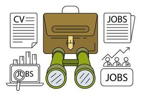 Linear Job Jakt ikoner vektor