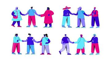 Reihe von verschiedenen Gruppen von Männern und Frauen