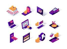 e-handelsplattform isometriska ikoner set