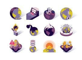 Isometrische Symbole für globale Erwärmung und Verschmutzung festgelegt vektor