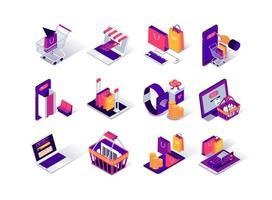 Online-Shopping isometrische Symbole eingestellt