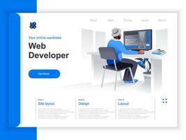 Isometrische Landingpage für die Webentwicklung vektor