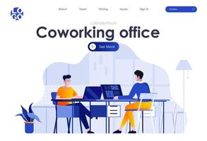flaches Landingpage-Design des Coworking Office vektor