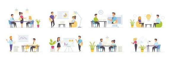 affärsmöte med människor i olika situationer vektor