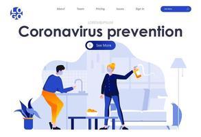 coronavirus förebyggande platt målsidesdesign