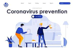 Coronavirus-Prävention flache Landingpage-Design