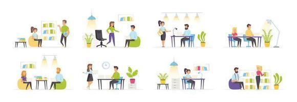 Coworking Space mit Menschen in verschiedenen Szenen