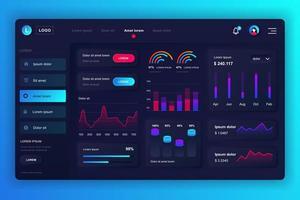 Admin Panel Neumorphic Dashboard UI Kit vektor