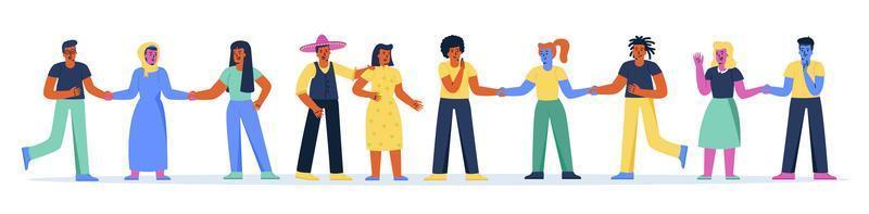 horisontell banner med multiracial grupp människor