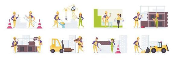 Bauarbeiter in Schutzhelmen in verschiedenen Situationen