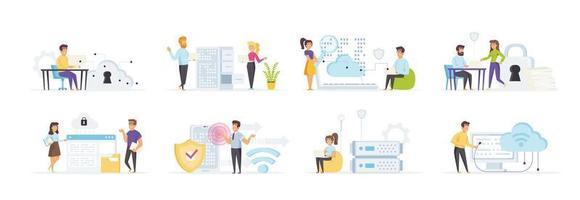 cloud computing set med människor i olika situationer