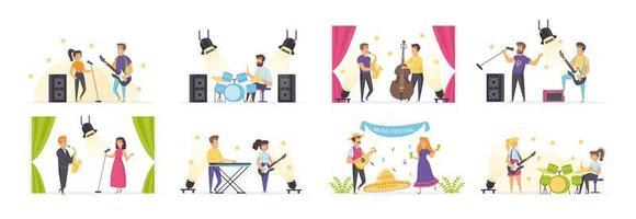 Musiker spielen mit Menschen in verschiedenen Situationen vektor