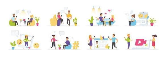 Social Media mit Menschen in verschiedenen Situationen vektor